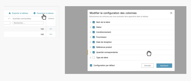configuration - design data table